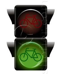 bicycles traffic lights - green signal