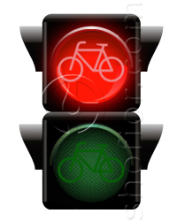 bicycles traffic lights - red signal